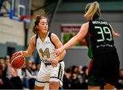 12 January 2020; Alex Mulligan of Ulster University in action against Kate McDaid of Trinity Meteors during the Hula Hoops Women's Division One National Cup Semi-Final between Ulster University and Trinity Meteors at Parochial Hall in Cork. Photo by Sam Barnes/Sportsfile
