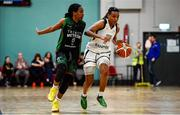 12 January 2020; Kollyns Scarbrough of Ulster University in action against Lauren Grigsby of Trinity Meteors during the Hula Hoops Women's Division One National Cup Semi-Final between Ulster University and Trinity Meteors at Parochial Hall in Cork. Photo by Sam Barnes/Sportsfile