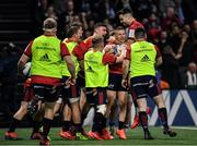 12 January 2020; Andrew Conway of Munster, second right, is congratulated by team-mates after scoring his side's first try during the Heineken Champions Cup Pool 4 Round 5 match between Racing 92 and Munster at Paris La Defence Arena in Paris, France. Photo by Seb Daly/Sportsfile