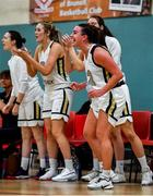 12 January 2020; The Ulster University bench, including Lexi Posset of Ulster University, right, react to a score during the Hula Hoops Women's Division One National Cup Semi-Final between Ulster University and Trinity Meteors at Parochial Hall in Cork. Photo by Sam Barnes/Sportsfile