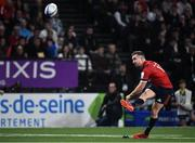12 January 2020; JJ Hanrahan of Munster kicks a conversion during the Heineken Champions Cup Pool 4 Round 5 match between Racing 92 and Munster at Paris La Defence Arena in Paris, France. Photo by Seb Daly/Sportsfile