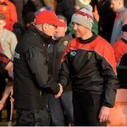 12 January 2020; Tyrone Manager Mickey Harte and Down Manager Paddy Tally exchange handshakes after the Bank of Ireland Dr McKenna Cup Semi-Final match between Tyrone and Down at the Athletic Grounds in Armagh. Photo by Oliver McVeigh/Sportsfile