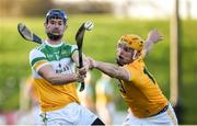 12 January 2020; Sean Cleary of Offaly in action against Matthew Donnelly of Antrim during the Kehoe Cup Final match between Antrim and Offaly at Páirc Tailteann in Navan, Meath. Photo by Philip Fitzpatrick/Sportsfile