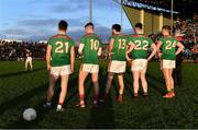 12 January 2020; Mayo's assigned penalty takers, from left, Fergal Boland, Brian Walsh, Kevin McLoughlin, Cathal Slattery, and Gary Boylan watch Shane Walsh of Galway make his way to take the first penalty in the penalty shoot-out during the FBD League Semi-Final match between Mayo and Galway at Elverys MacHale Park in Castlebar, Mayo. Photo by Piaras Ó Mídheach/Sportsfile