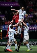 12 January 2020; Boris Palu of Racing 92 takes possession in a line-out ahead of Billy Holland of Munster during the Heineken Champions Cup Pool 4 Round 5 match between Racing 92 and Munster at Paris La Defence Arena in Paris, France. Photo by Seb Daly/Sportsfile