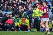 12 January 2020; Fiontán Ó Curraoin of Galway is treated for an injury before being taken off the field on a medical buggy as Galway manager Pádraic Joyce looks on during the FBD League Semi-Final match between Mayo and Galway at Elverys MacHale Park in Castlebar, Mayo. Photo by Piaras Ó Mídheach/Sportsfile