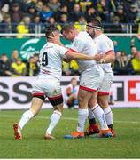 11 January 2020; Jack McGrath of Ulster congratulates team-mate John Cooney after he scored Ulster's first try during the Heineken Champions Cup Pool 3 Round 5 match between ASM Clermont Auvergne and Ulster at Stade Marcel-Michelin in Clermont-Ferrand, France. Photo by John Dickson/Sportsfile