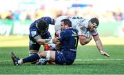 11 January 2020; Marcell Coetzee of Ulster is tackled by Sitaleki Timani and Alexandre Lapandry of ASM Clermont Auvergne during the Heineken Champions Cup Pool 3 Round 5 match between ASM Clermont Auvergne and Ulster at Stade Marcel-Michelin in Clermont-Ferrand, France. Photo by John Dickson/Sportsfile