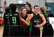 12 January 2020; Trinity Meteors players celebrate following the Hula Hoops Women's Division One National Cup Semi-Final between Ulster University and Trinity Meteors at Parochial Hall in Cork. Photo by Sam Barnes/Sportsfile