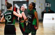 12 January 2020; Lauren Grigsby of Trinity Meteors, right, celebrates with team-mates, Edel Thornton, left, and Carolyn Binder, centre, following the Hula Hoops Women's Division One National Cup Semi-Final between Ulster University and Trinity Meteors at Parochial Hall in Cork. Photo by Sam Barnes/Sportsfile
