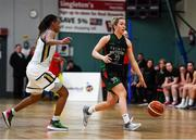 12 January 2020; Kate McDaid of Trinity Meteors in action against Kollyns Scarbrough of Ulster University during the Hula Hoops Women's Division One National Cup Semi-Final between Ulster University and Trinity Meteors at Parochial Hall in Cork. Photo by Sam Barnes/Sportsfile