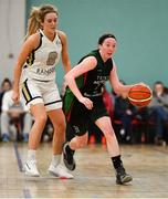 12 January 2020; Carolyn Binder of Trinity Meteors in action against Ciara Cooke of Ulster University during the Hula Hoops Women's Division One National Cup Semi-Final between Ulster University and Trinity Meteors at Parochial Hall in Cork. Photo by Sam Barnes/Sportsfile