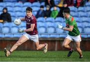 12 January 2020; Michael Daly of Galway in action against Michael Plunkett of Mayo during the FBD League Semi-Final match between Mayo and Galway at Elverys MacHale Park in Castlebar, Mayo. Photo by Piaras Ó Mídheach/Sportsfile