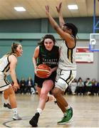 12 January 2020; Sarah Kenny of Trinity Meteors in action against Kollyns Scarbrough, right, and Alex Mulligan of Ulster University during the Hula Hoops Women's Division One National Cup Semi-Final between Ulster University and Trinity Meteors at Parochial Hall in Cork. Photo by Sam Barnes/Sportsfile