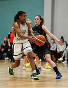 12 January 2020; Kollyns Scarbrough of Ulster University in action against Eimear Máirtín of Trinity Meteors during the Hula Hoops Women's Division One National Cup Semi-Final between Ulster University and Trinity Meteors at Parochial Hall in Cork. Photo by Sam Barnes/Sportsfile