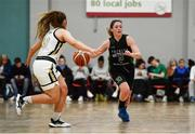 12 January 2020; Eimear Máirtín of Trinity Meteors in action against Aoife Callaghan of Ulster University during the Hula Hoops Women's Division One National Cup Semi-Final between Ulster University and Trinity Meteors at Parochial Hall in Cork. Photo by Sam Barnes/Sportsfile