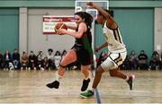 12 January 2020; Sarah Kenny of Trinity Meteors in action against Kollyns Scarbrough of Ulster University during the Hula Hoops Women's Division One National Cup Semi-Final between Ulster University and Trinity Meteors at Parochial Hall in Cork. Photo by Sam Barnes/Sportsfile