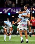 12 January 2020; Hassane Kolingar and Boris Palu of Racing 92 celebrate following their side's victory during the Heineken Champions Cup Pool 4 Round 5 match between Racing 92 and Munster at Paris La Defence Arena in Paris, France. Photo by Seb Daly/Sportsfile