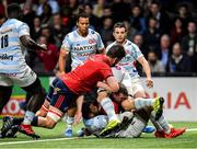 12 January 2020; Chris Farrell of Munster is held up by Hassane Kolingar of Racing 92 on the try line during the Heineken Champions Cup Pool 4 Round 5 match between Racing 92 and Munster at Paris La Defence Arena in Paris, France. Photo by Seb Daly/Sportsfile
