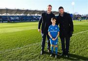 12 January 2020; Matchday mascot 9 year old Kian Haberlin, from New Ross, Co. Wexford, with Dan Leavy and Fergus McFadden at the Heineken Champions Cup Pool 1 Round 5 match between Leinster and Lyon at the RDS Arena in Dublin. Photo by Ramsey Cardy/Sportsfile