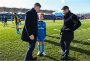 12 January 2020; Matchday mascot 13 year old Dan Kelly with Dan Leavy and Fergus McFadden at the Heineken Champions Cup Pool 1 Round 5 match between Leinster and Lyon at the RDS Arena in Dublin. Photo by Ramsey Cardy/Sportsfile