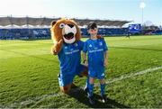 12 January 2020; Matchday mascot 9 year old Kian Haberlin, from New Ross, Co. Wexford, with Leo The Lion at the Heineken Champions Cup Pool 1 Round 5 match between Leinster and Lyon at the RDS Arena in Dublin. Photo by Ramsey Cardy/Sportsfile