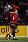 12 January 2020; Andrew Conway of Munster, behind, is congratulated by team-mate Keith Earls after scoring his side's try during the Heineken Champions Cup Pool 4 Round 5 match between Racing 92 and Munster at Paris La Defence Arena in Paris, France. Photo by Seb Daly/Sportsfile