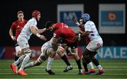 12 January 2020; Jean Kleyn of Munster is tackled by Racing 92 players, from left, Bernard Le Roux, Boris Palu and Eddy Ben Arous during the Heineken Champions Cup Pool 4 Round 5 match between Racing 92 and Munster at Paris La Defence Arena in Paris, France. Photo by Seb Daly/Sportsfile