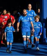 12 January 2020; Matchday mascots 9 year old Kian Haberlin and 13 year old Dan Kelly with Leinster captain Scott Fardy at the Heineken Champions Cup Pool 1 Round 5 match between Leinster and Lyon at the RDS Arena in Dublin. Photo by Ramsey Cardy/Sportsfile