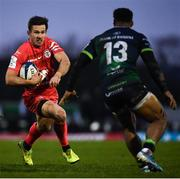 11 January 2020; Zack Holmes of Toulouse in action against Bundee Aki of Connacht during the Heineken Champions Cup Pool 5 Round 5 match between Connacht and Toulouse at The Sportsground in Galway. Photo by David Fitzgerald/Sportsfile