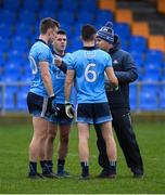 11 January 2020; Dublin manager Dessie Farrell in conversation with Tom Lahiff, 20, Niall McGovern and Graham Hannigan of Dublin before the O'Byrne Cup Semi-Final match between Longford and Dublin at Glennon Brothers Pearse Park in Longford. Photo by Ray McManus/Sportsfile