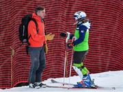 14 January 2020; Emma Austin of Team Ireland speaking to her father Ted Austin prior to competing in the Alpine Skiing, Women's Slalom, during day five of the Winter Youth Olympic Games in Les Diablerets, Switzerland. Photo by Eóin Noonan/Sportsfile