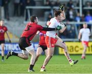 12 January 2020; Conall McCann of Tyrone calling for a mark against Kevin McKernan of Down during the Bank of Ireland Dr McKenna Cup Semi-Final match between Tyrone and Down at the Athletic Grounds in Armagh. Photo by Oliver McVeigh/Sportsfile