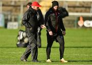 12 January 2020; Tyrone Manager Mickey Harte, left, along with Tyrone strength and conditioning coach Jonny Davis before the Bank of Ireland Dr McKenna Cup Semi-Final match between Tyrone and Down at the Athletic Grounds in Armagh. Photo by Oliver McVeigh/Sportsfile