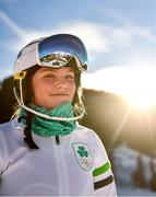 14 January 2020; Emma Austin of Team Ireland poses for a portrait after competing in the Alpine Skiing, Women's Slalom, second run, during day 5 of the Winter Youth Olympic Games in Les Diablerets, Switzerland. Photo by Eóin Noonan/Sportsfile