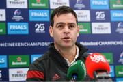 14 January 2020; Munster head coach Johann van Graan  during a Munster Rugby press conference at University of Limerick in Limerick. Photo by Matt Browne/Sportsfile