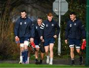 14 January 2020; Leinster players, from left, James Ryan, Scott Penny, Ciarán Frawley and Will Connors arrive for training prior to a Leinster Rugby squad training session at Leinster Rugby Headquarters in UCD, Dublin. Photo by Harry Murphy/Sportsfile