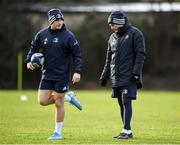 14 January 2020; Jordan Larmour and Backs coach Felipe Contepomi during a Leinster Rugby squad training session at Leinster Rugby Headquarters in UCD, Dublin. Photo by Harry Murphy/Sportsfile