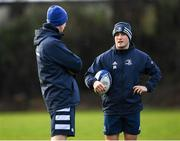 14 January 2020; Jordan Larmour, right, and Head coach Leo Cullen during a Leinster Rugby squad training session at Leinster Rugby Headquarters in UCD, Dublin. Photo by Harry Murphy/Sportsfile