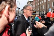 14 January 2020; FAI Chairman Roy Barrett speaks to media following the UEFA meeting with the Department of Transport, Tourism and Sport at Leinster House in Dublin. Photo by Sam Barnes/Sportsfile