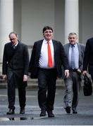 14 January 2020; FAI Chairman Roy Barrett, UEFA General Secretary Theodore Theodoridis and FAI Executive Lead Paul Cooke leave Leinster House following the UEFA meeting with the Department of Transport, Tourism and Sport at Leinster House in Dublin. Photo by Sam Barnes/Sportsfile