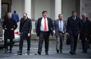 14 January 2020; UEFA Deputy Director of National Associations Thierry Favre, FAI Chairman Roy Barrett, UEFA General Secretary Theodore Theodoridis, FAI Executive Lead Paul Cooke, UEFA Director of National Associations Zoran Lakovic, and UEFA Financial Director Josef Koller leave Leinster House following the UEFA meeting with the Department of Transport, Tourism and Sport at Leinster House in Dublin. Photo by Sam Barnes/Sportsfile
