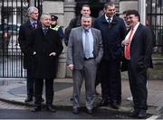 14 January 2020; UEFA Financial Director Josef Koller, UEFA Deputy Director of National Associations Thierry Favre, FAI Executive Lead Paul Cooke, UEFA Director of National Associations Zoran Lakovic, and UEFA General Secretary Theodore Theodoridis leave Leinster House following the UEFA meeting with the Department of Transport, Tourism and Sport at Leinster House in Dublin. Photo by Sam Barnes/Sportsfile