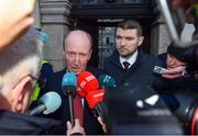 14 January 2020; Minister for Transport, Tourism and Sport Shane Ross T.D., left, and Minister of State for Tourism and Sport Brendan Griffin T.D, speak to members of the media following the UEFA meeting with the Department of Transport, Tourism and Sport at Leinster House in Dublin. Photo by Sam Barnes/Sportsfile