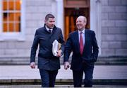 14 January 2020; Minister for Transport, Tourism and Sport Shane Ross T.D., right, and Minister of State for Tourism and Sport Brendan Griffin T.D, leave Leinster House following the UEFA meeting with the Department of Transport, Tourism and Sport at Leinster House in Dublin. Photo by Sam Barnes/Sportsfile