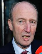14 January 2020; Minister for Transport, Tourism and Sport, Shane Ross T.D, speaks to members of the media following the UEFA meeting with the Department of Transport, Tourism and Sport at Leinster House in Dublin. Photo by Sam Barnes/Sportsfile