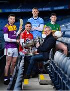 15 January 2020; eir sport has today announced the details of its 2020 Allianz Leagues coverage. On hand for the launch were Cork's Alan Cadogan, Wexford's Rory O'Connor, Dublin's Paul Mannion and Kerry's Paul Geaney. Over seven weekends eir sport will broadcast 15 football and hurling games and become the home of Saturday night live GAA. The coverage kicks off on Saturday 25th January, with a massive triple header across its channels, including the All-Ireland football & hurling champions. Pictured at the launch are, from left, Rory O'Connor of Wexford, Alan Cadogan of Cork, Paul Mannion of Dublin, eir sport analyst Joe Brolly and Paul Geaney of Kerry. Photo by Brendan Moran/Sportsfile