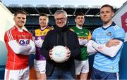 15 January 2020; eir sport has today announced the details of its 2020 Allianz Leagues coverage. On hand for the launch were Cork's Alan Cadogan, Wexford's Rory O'Connor, Dublin's Paul Mannion and Kerry's Paul Geaney. Over seven weekends eir sport will broadcast 15 football and hurling games and become the home of Saturday night live GAA. The coverage kicks off on Saturday 25th January, with a massive triple header across its channels, including the All-Ireland football & hurling champions. Pictured at the launch are, from left, Rory O'Connor of Wexford, Alan Cadogan of Cork, eir sport analyst Joe Brolly and Paul Geaney of Kerry and Paul Mannion of Dublin. Photo by Brendan Moran/Sportsfile