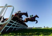 15 January 2020; Sean Says, with Philip Enright up, right, jumps the fourth on their way to winning the Ladbrokes Daily Odds Boosts Handicap Hurdle at Punchestown Racecourse in Kildare. Photo by Harry Murphy/Sportsfile