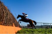 15 January 2020; Pretty Fantasy, with Brien Kane up, jumps the sixth during the Ladbrokes 'Where The Nation Plays' Maiden Hurdle at Punchestown Racecourse in Kildare. Photo by Harry Murphy/Sportsfile